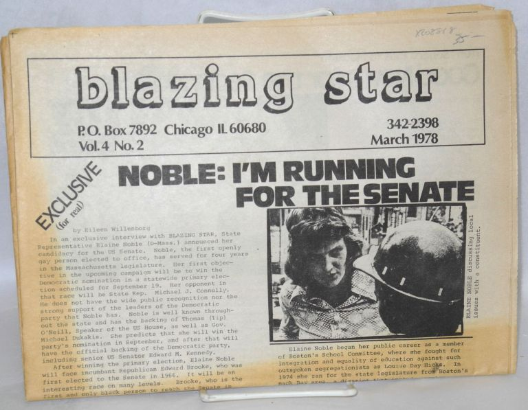 Blazing Star: vol. 4, #2, March 1978: Exclusive - Noble: I'm running for the Senate