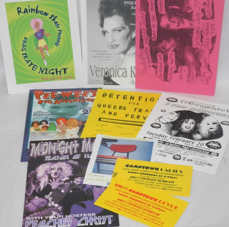 A grab-bag of drag! - Publicity cards and tickets for various SF drag shows. Veronica Klaus Peaches Christ, Kawkettry.