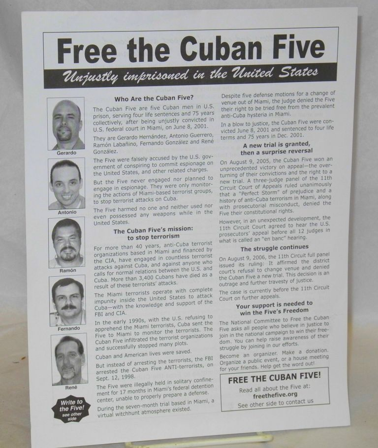 Free the Cuban Five: unjustly imprisoned in the United States [handbill]