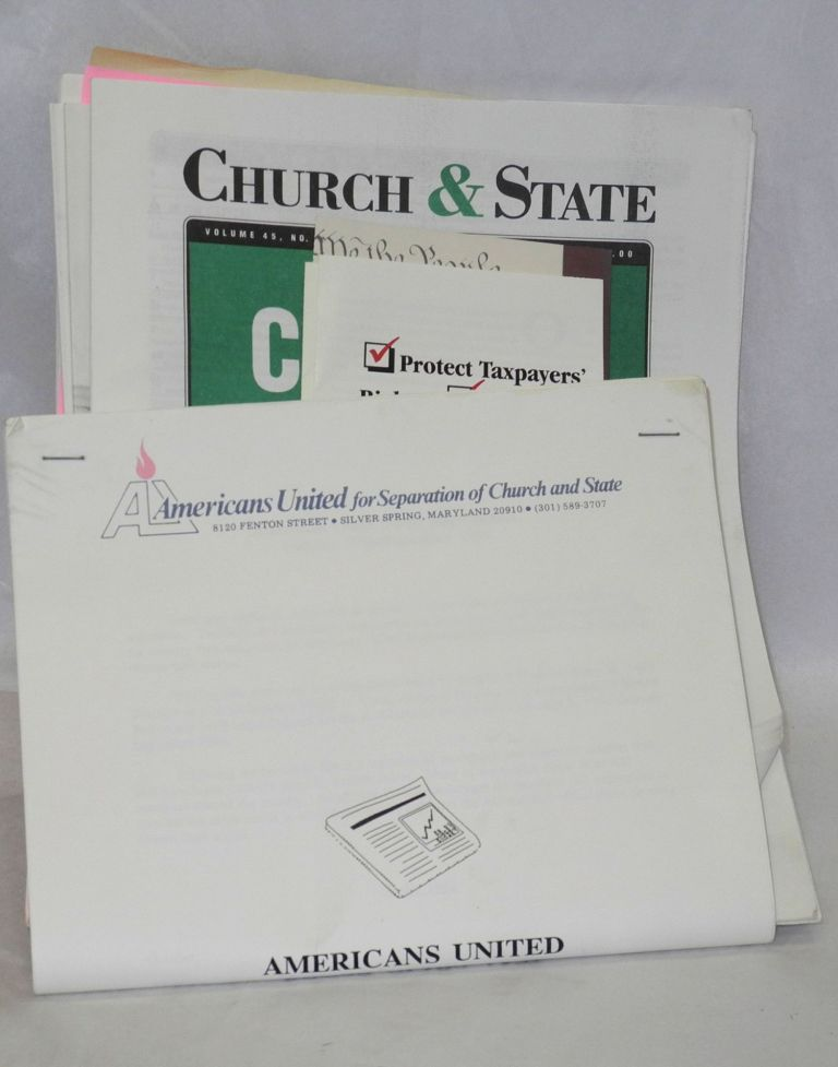 Church & State newsletters, collection of press clippings and broadcast log, report, brochures etc. Americans United for Separation of Church, State.