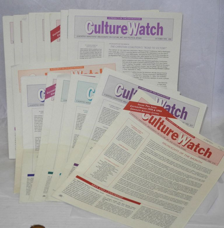 CultureWatch: a monthly annotated bibliography on culture, art, and political affairs: #1 - 35, May 1993 - September 1996 [broken run of 31 issues]