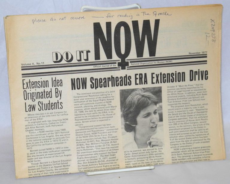 Do it NOW: official journal of the National Organization for Women; vol. 10, #11, November 1977. National Organization for Women.