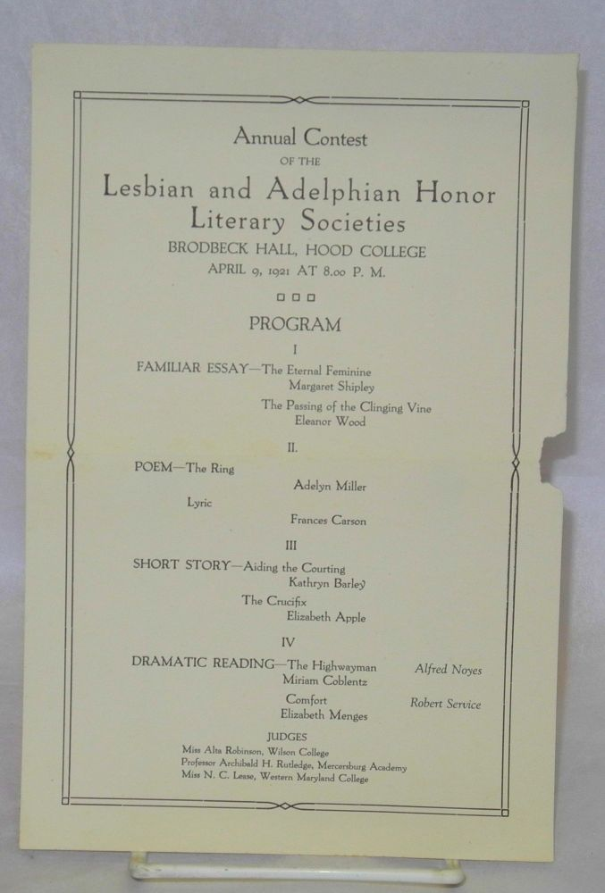 Annual contest of the Lesbian and Adelphian Honor Literary Societies, Brodbeck Hall, Hood College, April 9, 1921 at 8:00 P. M. [leaflet/program]