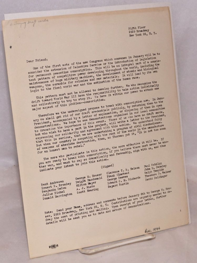 [Leaflet opposing conscription and announcing a pledge to destroy draft cards]. George M. Houser, Scott Nearing, Dave Dellinger, Dwight Mcdonald, Bayard Rustin, A. J. Muste.