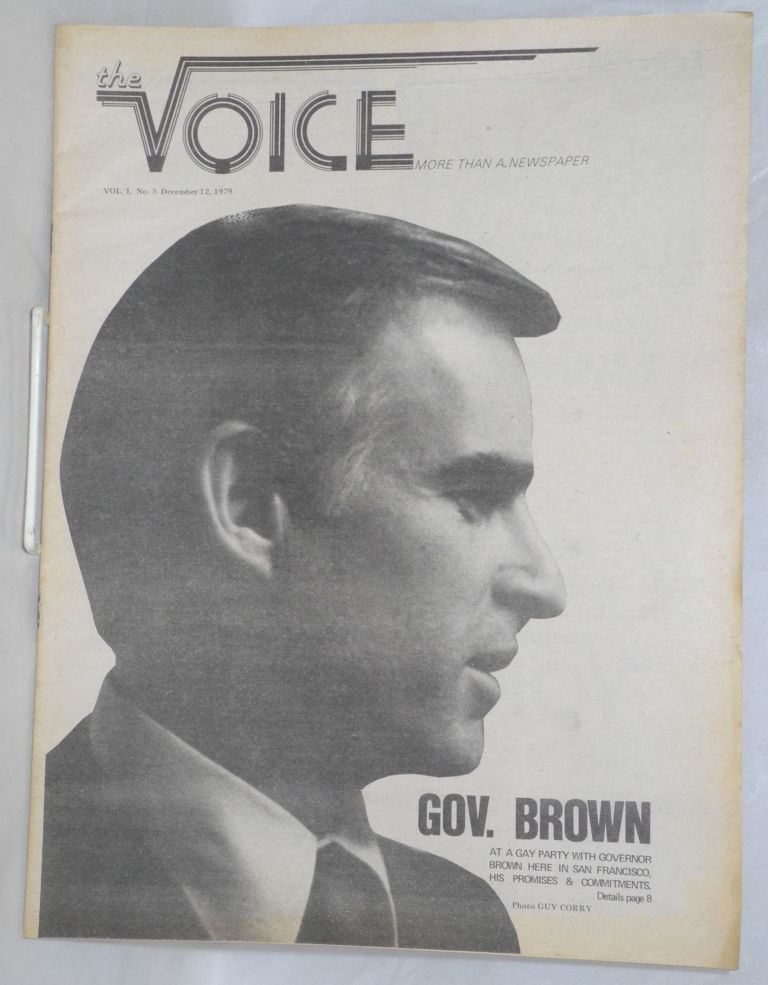 The Voice: more than a newspaper; vol. 1, #5, December 12, 1979; Governor Brown. Paul D. Hardman, E. Lee Clifton Daniel Curzon.