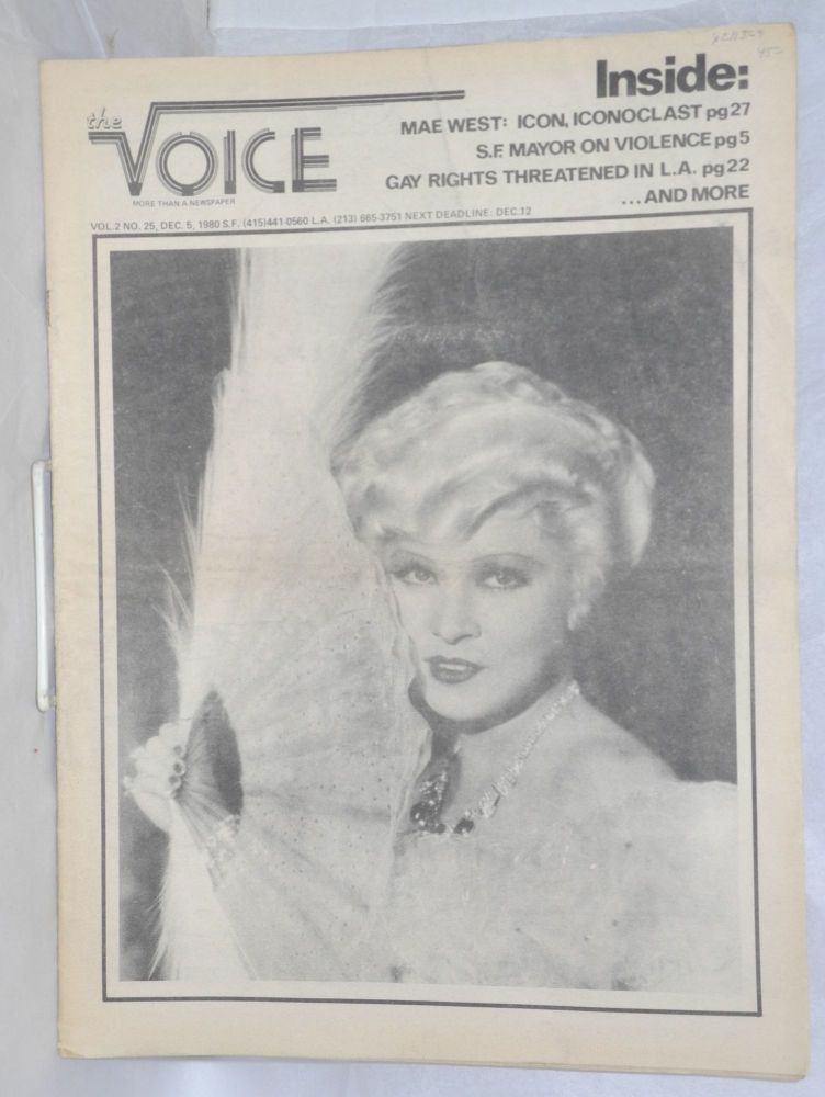 The Voice: more than a newspaper; vol. 2, #25, Dec. 5, 1980. Paul D. Hardman, Quentin Kopp Milton Marks, Donald McLean.