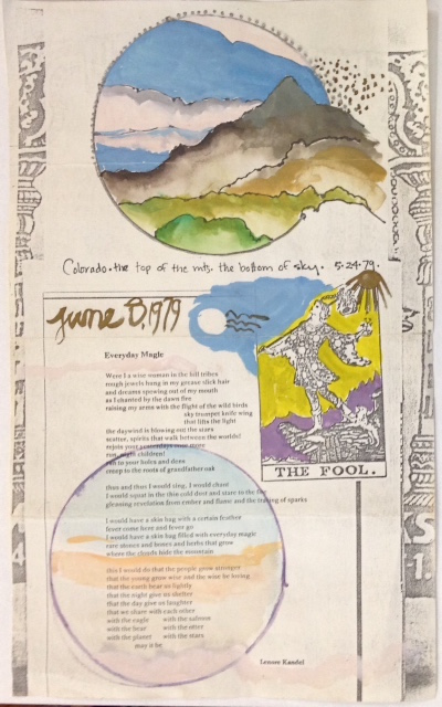 Colorado - the top of the mts, the bottom of the sky. 5-24-79 [hand-colored broadside]. Lenore Kandel.
