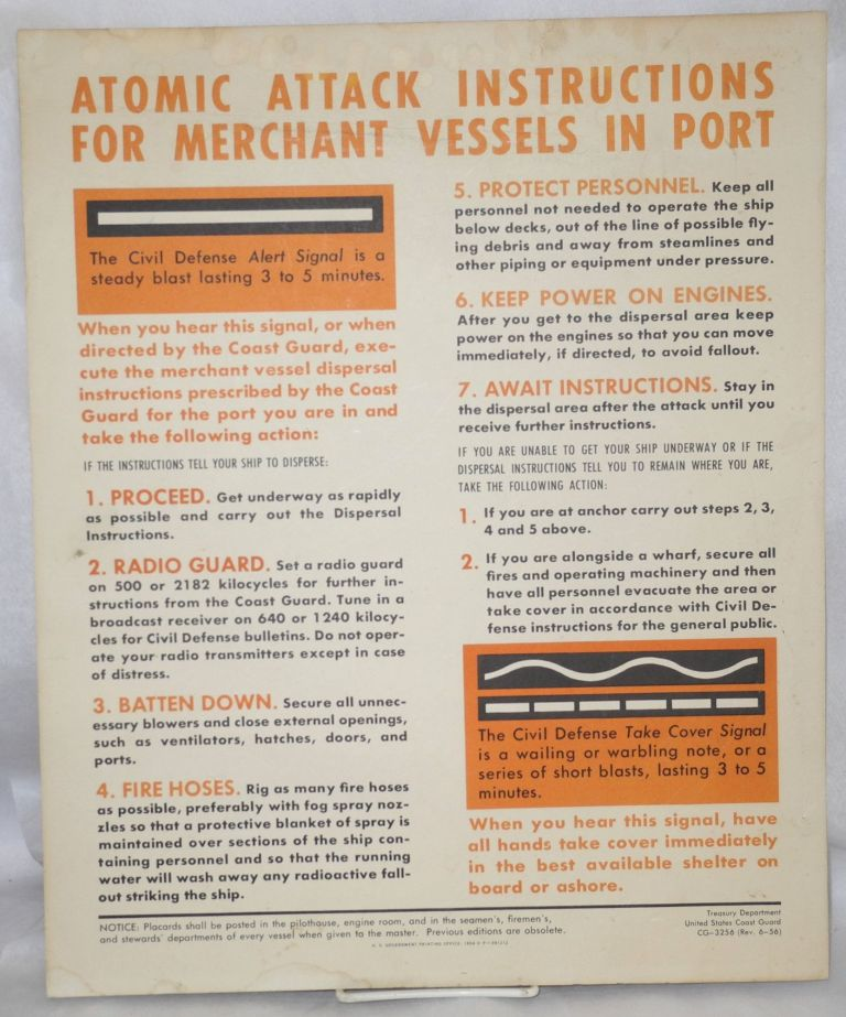 Atomic attack instructions for merchant vessels in port [Poster]. United States Coast Guard.