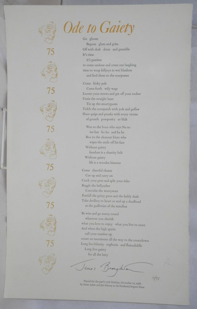 Ode to Gaiety [signed broadside]. James Broughton.