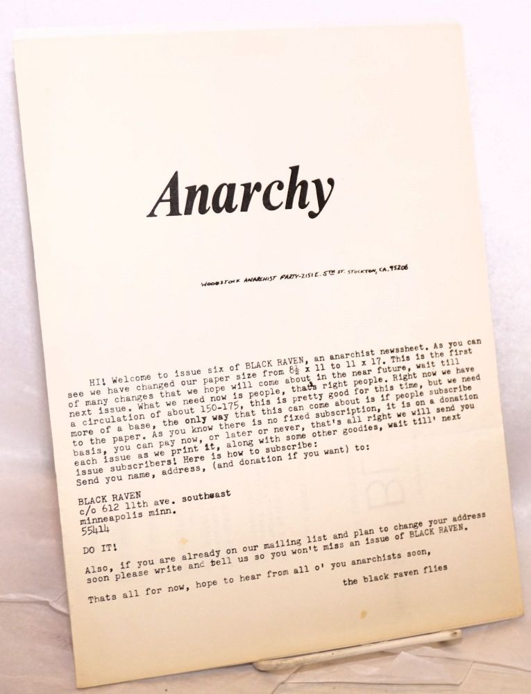 Black Raven, vol. 1 no. 6 (July 24, 1973). [cover title: Anarchy]