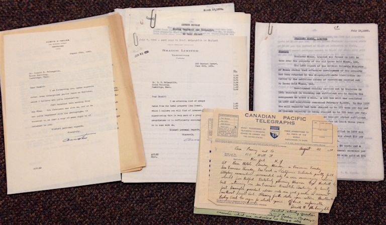 [Correspondence related to gold mines, mainly in British Columbia]. Donald H. McLaughlin.