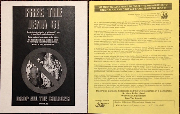 [Two leaflets related to the case of the Jena 6]. Repression October 22 Coalition to Stop Police Brutality, the Criminalization of a. Generation, Revolutionary Communist Party.