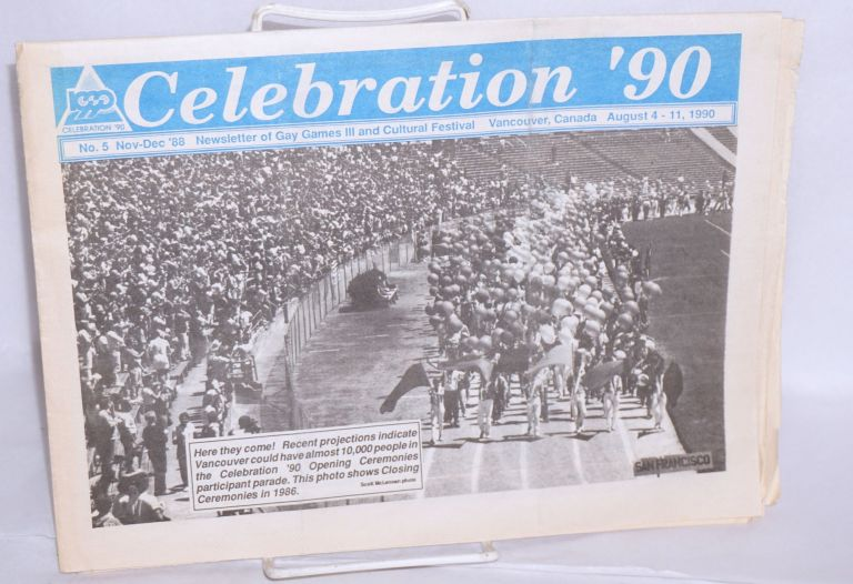 """Celebration '90"""" newsletter of Gay Games III and Cultural festival, August 4-11, 1990 #5, Nov./Dec. '88"""