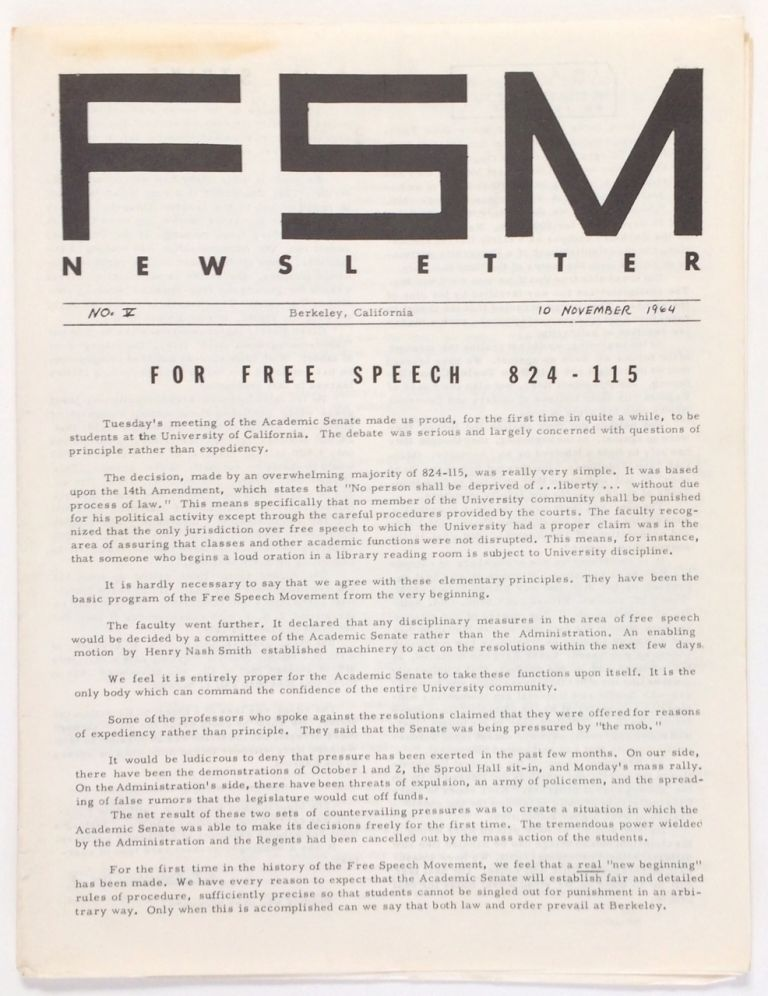 FSM Newsletter. No. 5 (November 10, 1964). Barbara Stephen Gillers Garson, eds, and.