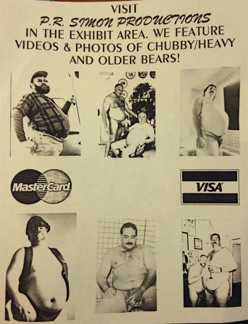 Visit P.R. Simon Productions in the exhibit area. We feature videos & photos of chubby / heavy and older bears! [handbill]
