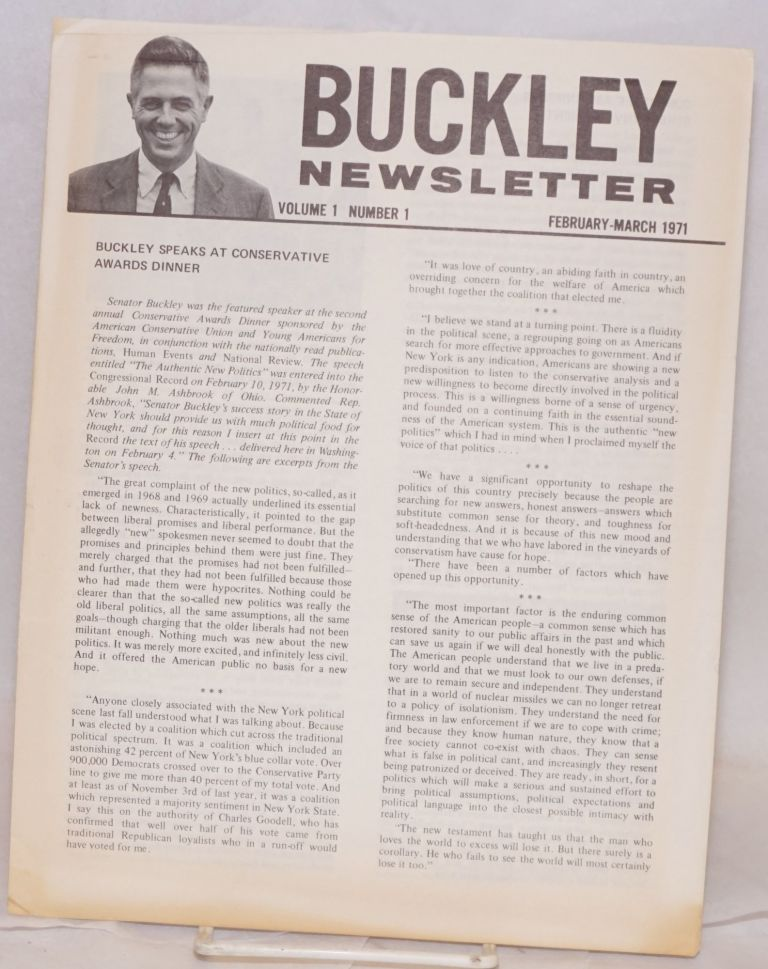 Buckley Newsletter. Vol. 1 no. 1 (February-March 1971). James Buckley.