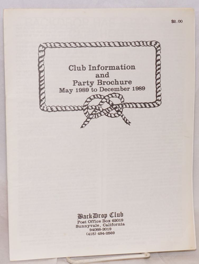Back Drop Club Information and Party Brochure May 1989 to December 1989