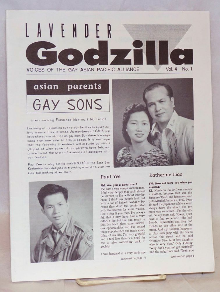 Lavender Godzilla: voices of the Gay Asian Pacific Alliance vol. 4, #1, Feb/March 1991: Asian Parents, Gay Sons. Gay Asian Pacific Alliance.