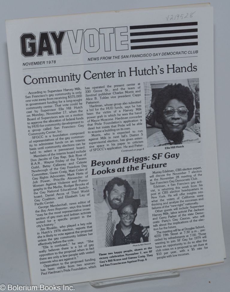 Gay vote: news from the San Francisco Gay Democratic Club; November 1978. San Francisco Gay Democratic Club.