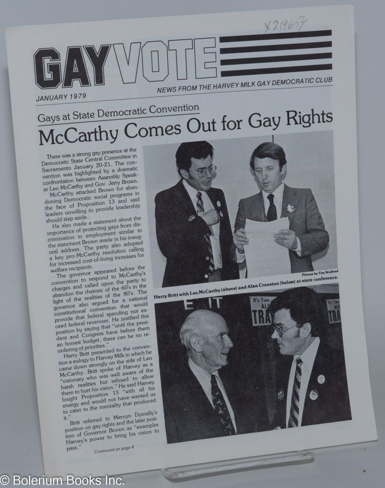 Gay vote: news from the Harvey Milk Gay Democratic Club; January 1979. Harvey Milk Gay Democratic Club.