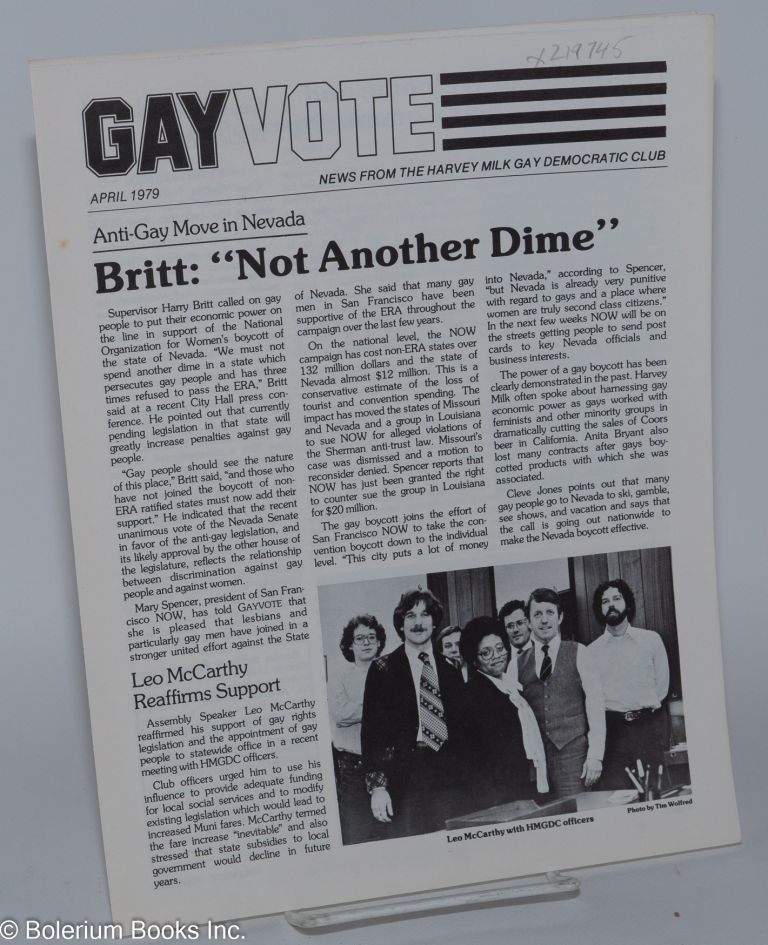 Gay vote: news from the Harvey Milk Gay Democratic Club; April 1979. Harvey Milk Gay Democratic Club.