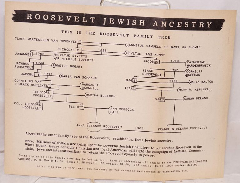 Roosevelt Jewish ancestry, this is the Roosevelt family tree. Christian Nationalist Crusade