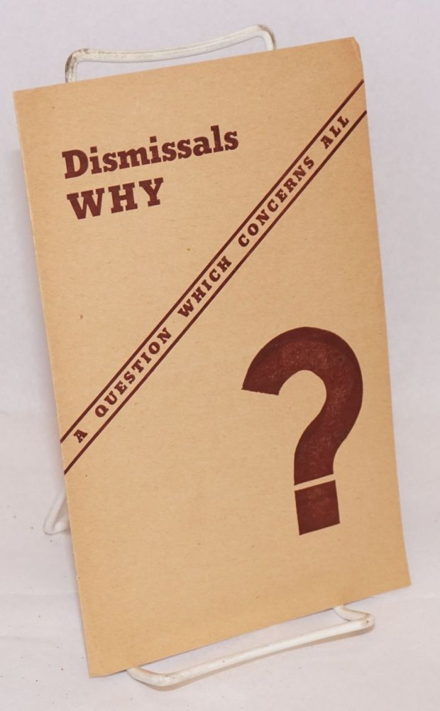 Dismissals why? A question which concerns all ... Mass meeting in Stuyvesant High School. Joint Action Committee.