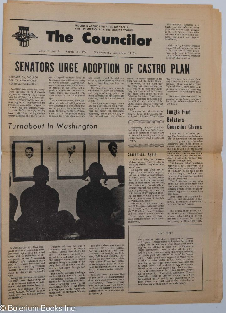 The Councilor. Vol. 8 no. 8 (March 16, 1971