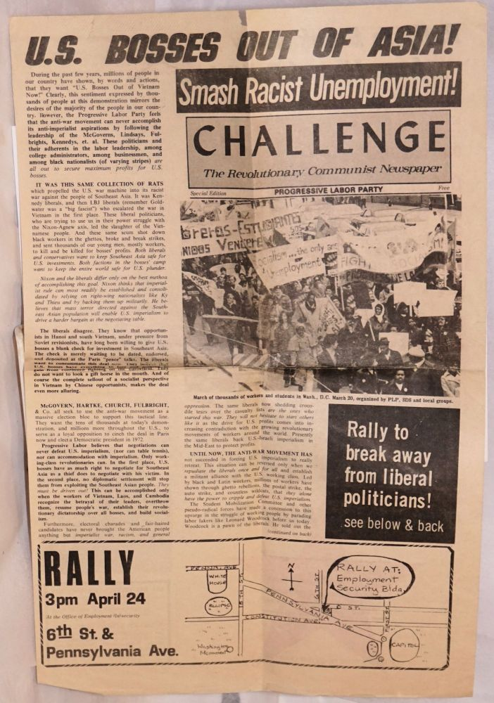 "Challenge, the Revolutionary Communist Newspaper. Special edition: ""US Bosses out of Asia!"" Progressive Labor Party."