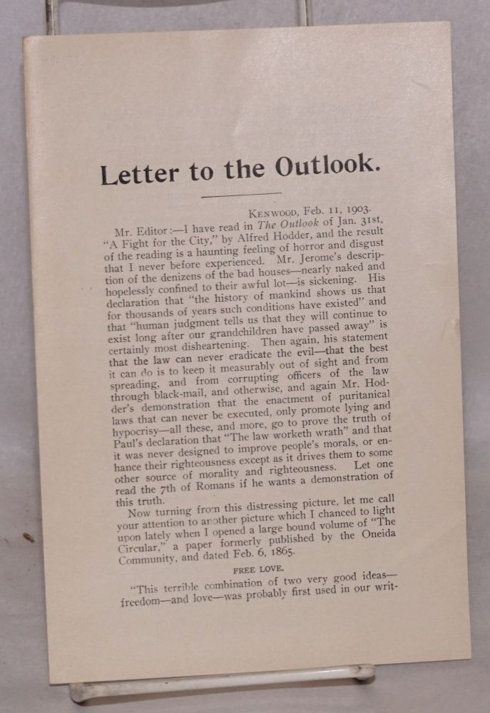 Letter to Outlook. H. J. Seymour, Henry.