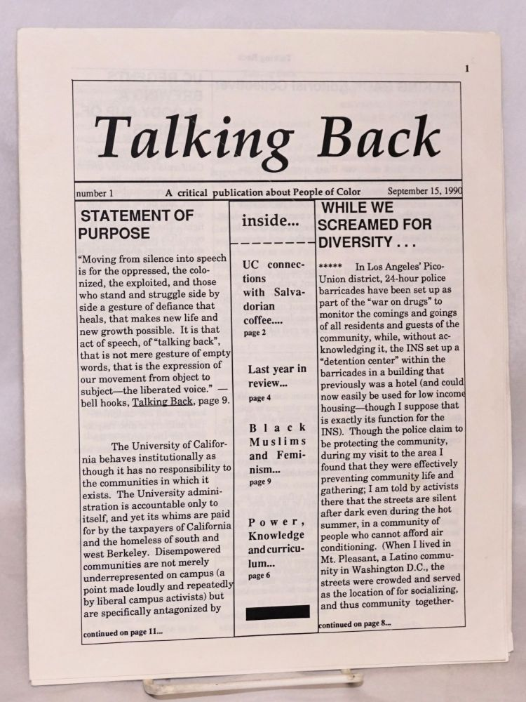 Talking Back. A critical publication about people of color. No. 1 (Sept. 15, 1990)