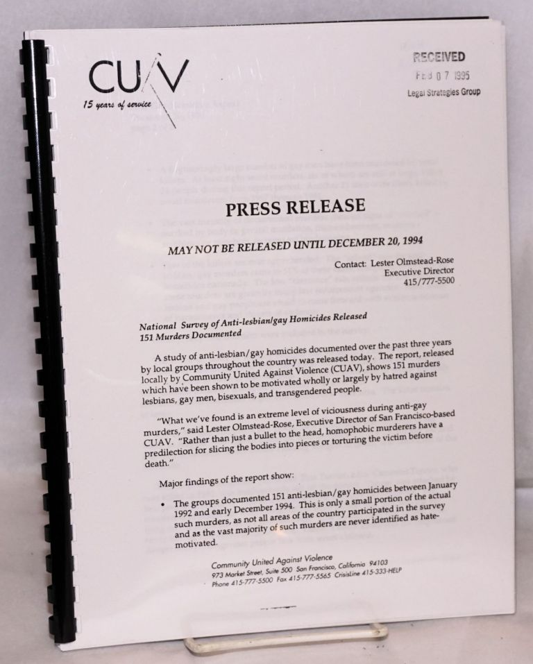 CUAV Press Release: may not be released until December 20, 1994