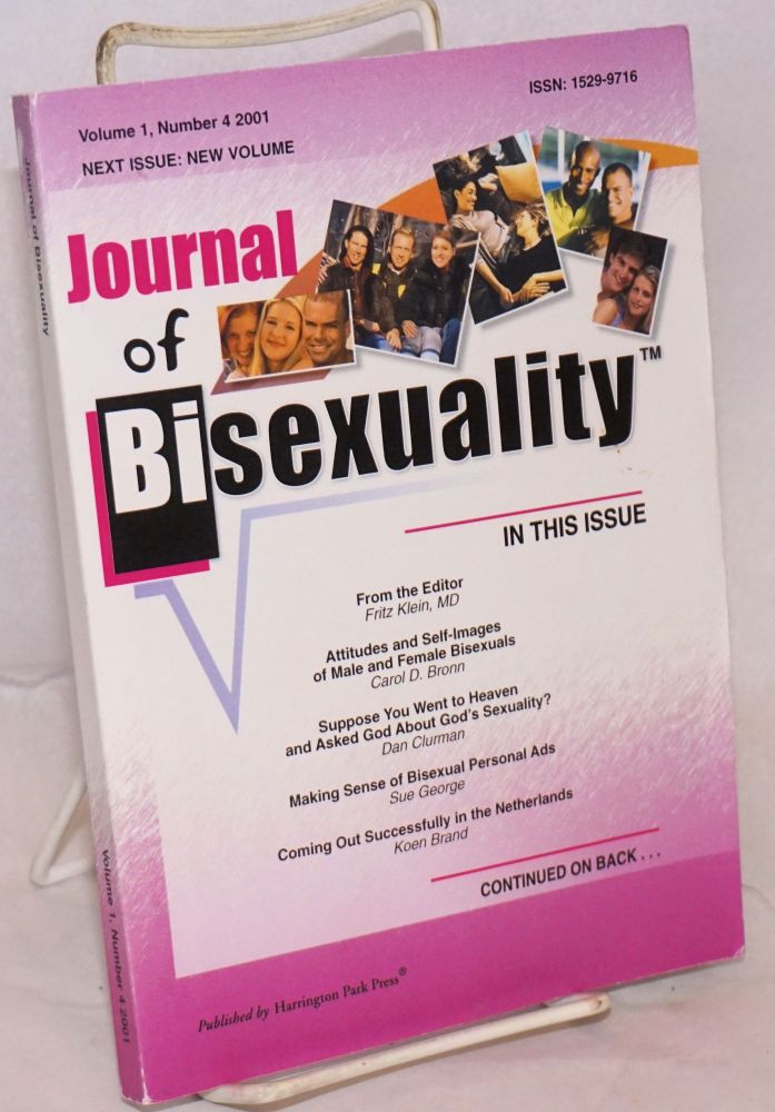 Journal of bisexuality; volume 1, number 4. Fritz Klein.