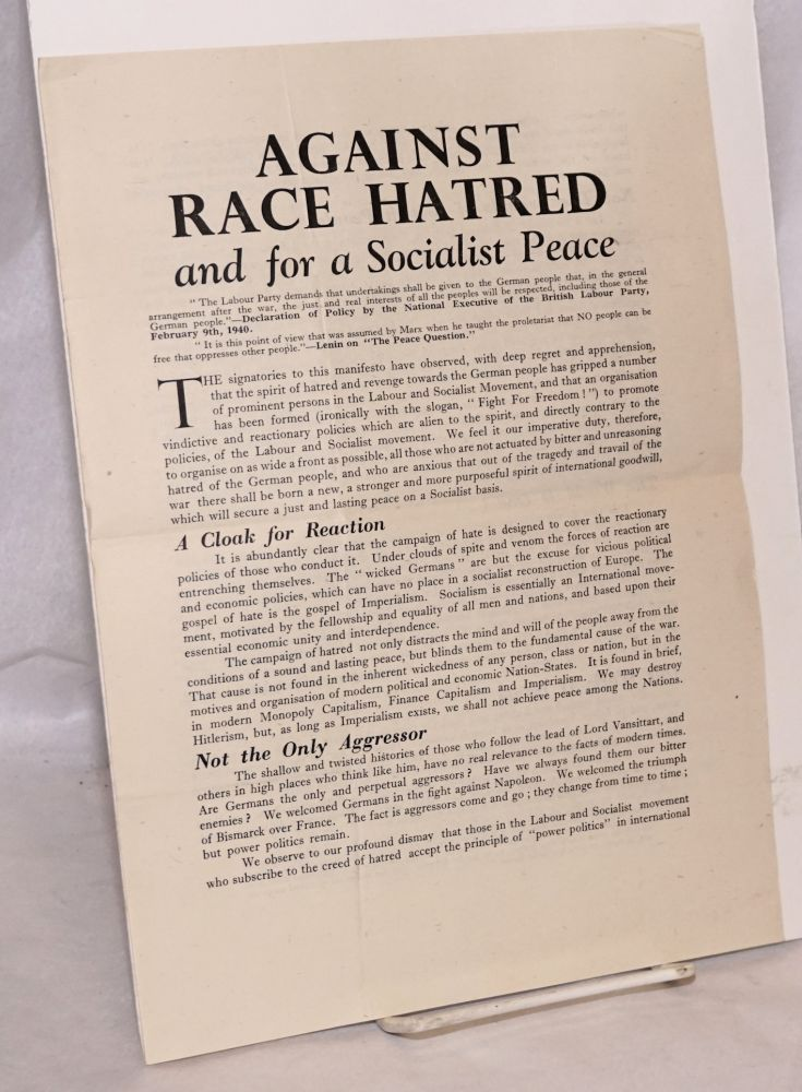 Against Race Hatred and for a Socialist Peace manifesto by William George  Cove on Bolerium Books
