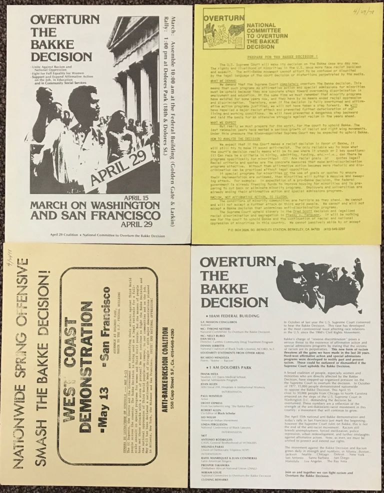 [Four leaflets related to San Francisco Bay Area anti-Bakke decision demonstrations]