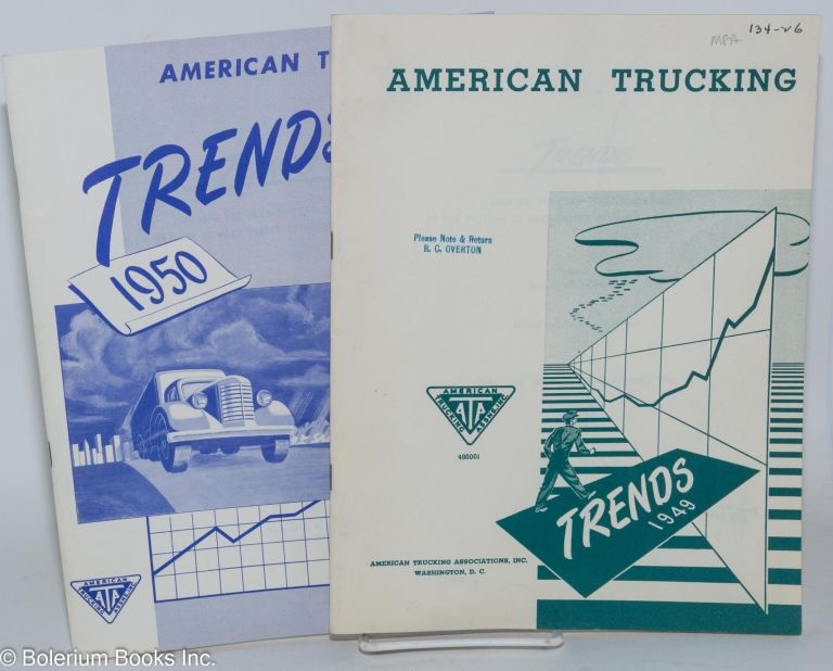 Trends. Showing the year-to-year changes in the pattern of many phases of motor truck operation. Produced by Public Relations Department [2 consecutive issues]. preparers ATA Department of Research.