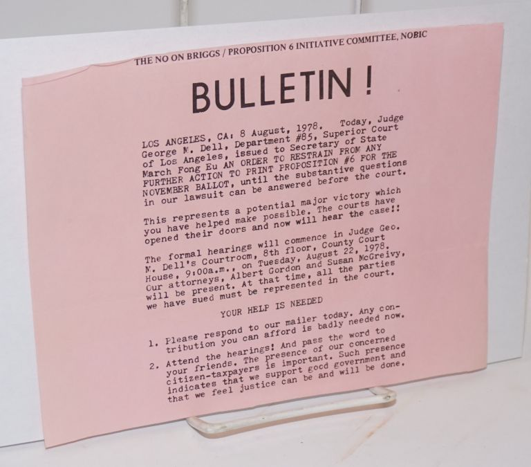 The No on Briggs/Proposition 6 Initiative Committee, NOBIC Bulletin!