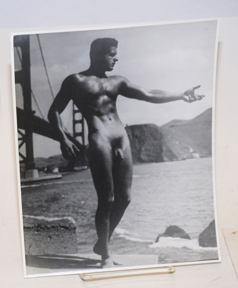 Photograph of Bob Delmonteque nude at Golden Gate Bridge. David Martin, model, Bob DelMonteque, photographer.