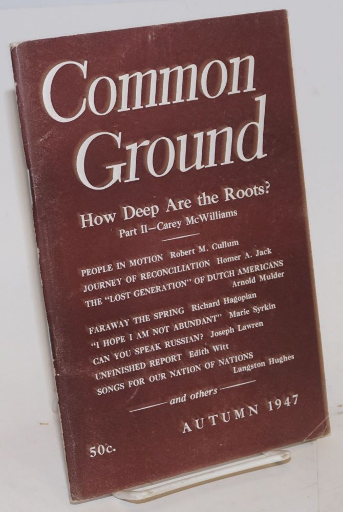 Common Ground. Vol. VIII, No. 1 (Autumn 1947). M. Margaret Anderson.