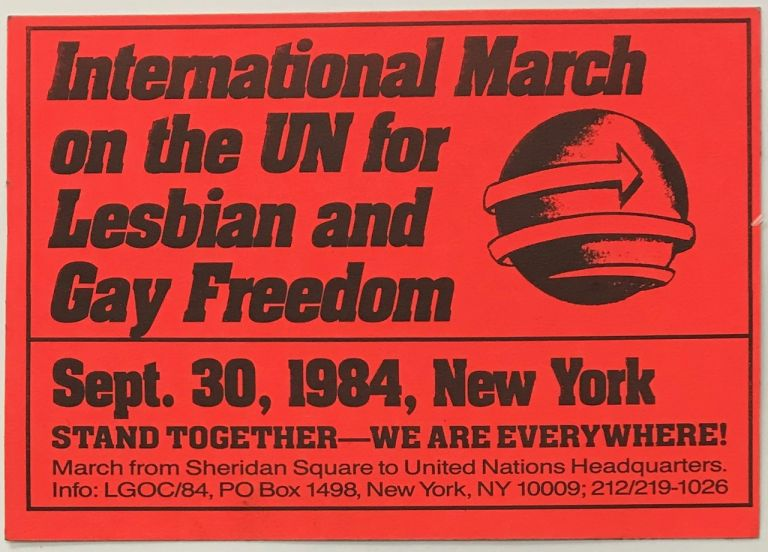 International March on the United Nations for Lesbian and Gay Freedom [sticker]