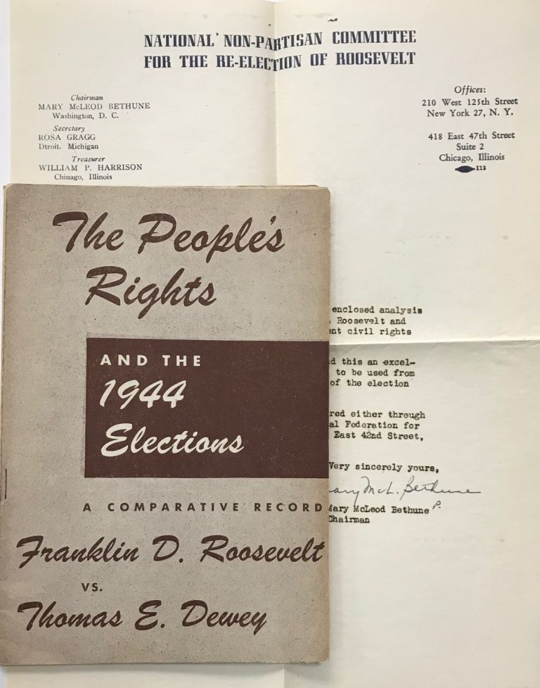The people's rights and the 1944 elections: a comparative record, Franklin D. Roosevelt vs. Thomas E. Dewey