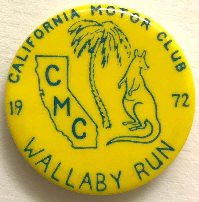 California Motor Club / Wallaby Run / 1972 [pinback button]