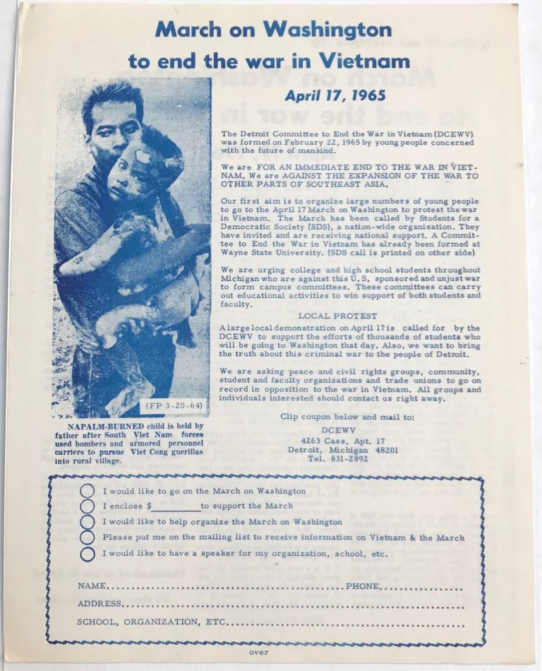 March On Washington to end the war in Vietnam. April 17, 1965 [handbill]. Detroit Committee to End the War in Vietnam.