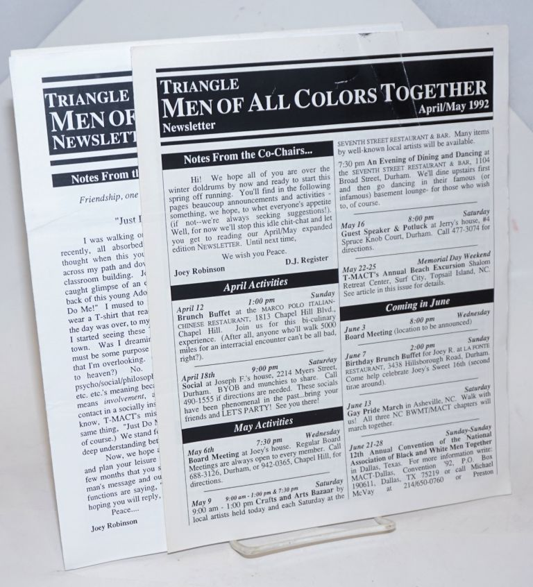 Triangle Men of All Colors newsletter [two issues] April/May & June/July 1992
