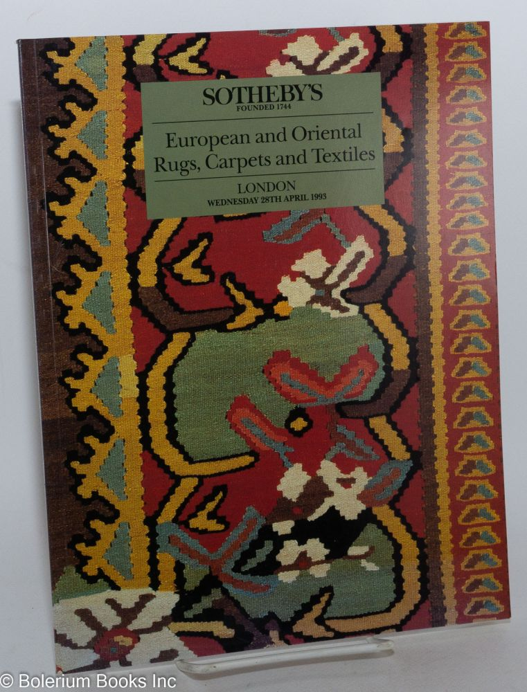 European and Oriental Rugs, Carpets and Textiles; Sotheby's London Wednesday 28th April 1993. Jacqueline Bing, expert in charge for Sotheby's.