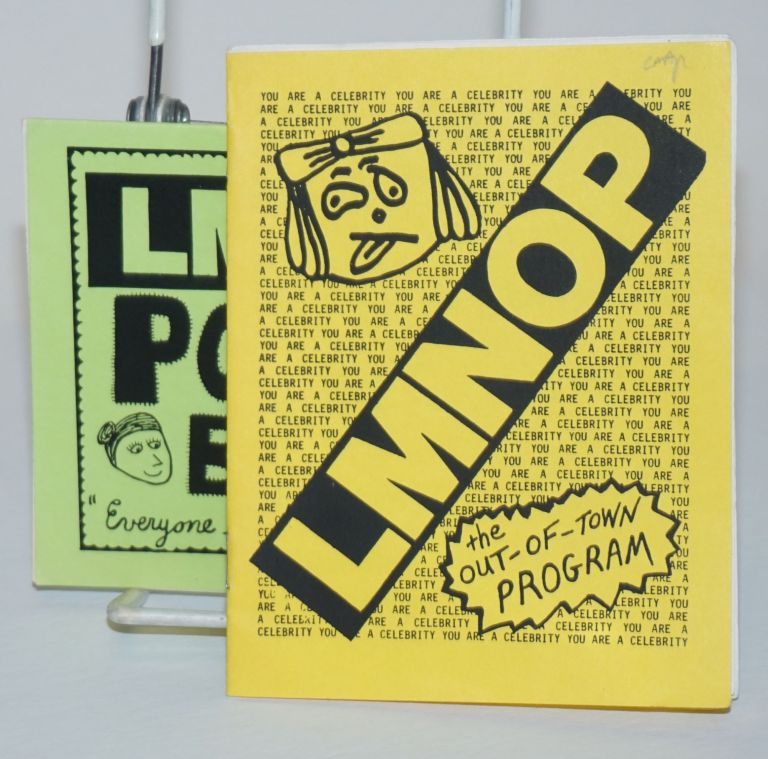 """LMNOP, the Out-Of-Town Program [with] the LMNOP Pocket Book """"Everyone should carry a pocketbook!"""" [2 related zines]. Phil Skipper, Stephen Fievet : band members, Steve Lange, probable authors, vocals bass, vocals drums, vocals guitars."""