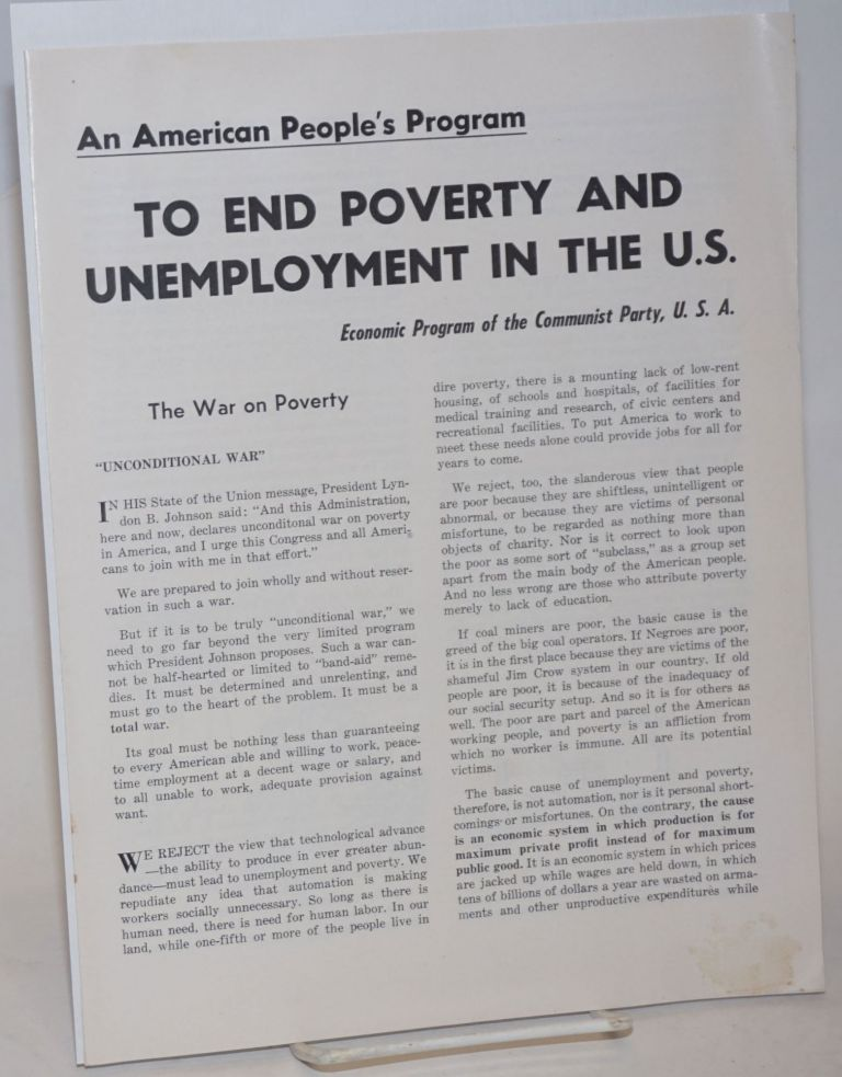 An American people's program to end poverty and unemployment in the US: Economic program of the Communist Party, USA