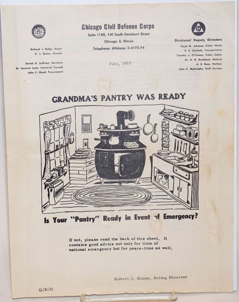"Grandma's Pantry Was Ready. Is Your ""Pantry"" Ready in Event of Emergency? If not, please read the back of this sheet [&c]. Robert J. Quinn, acting director."