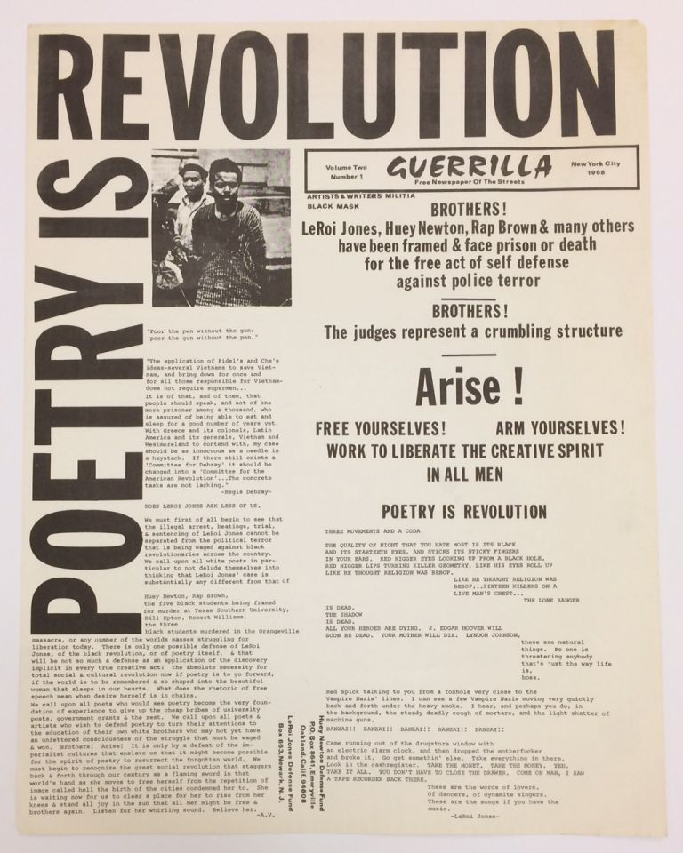 Poetry is Revolution  Guerrilla: Free Newspaper of the Streets, Vol  2, No   1, 1968 by LeRoi Jones on Bolerium Books