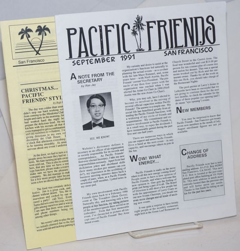 Pacific Friends newsletter two issues, September 1991 & #104, January